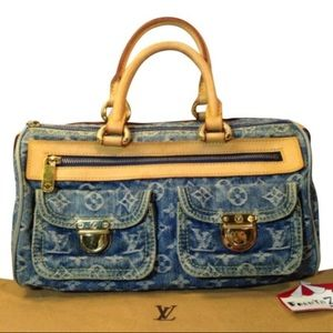 Authentic Louis Vuitton Neo Denim Speedy Satchel